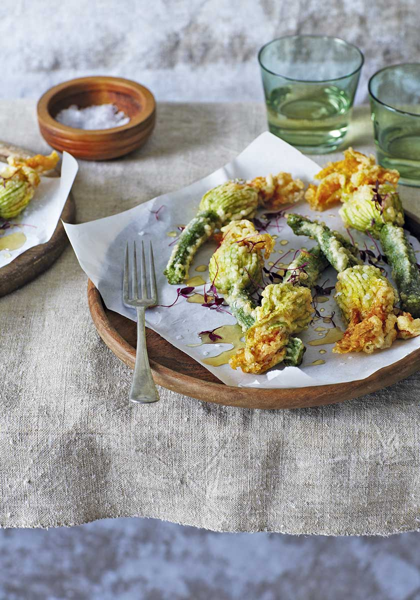 Deep-fried courgette flowers with ricotta, honey and mint