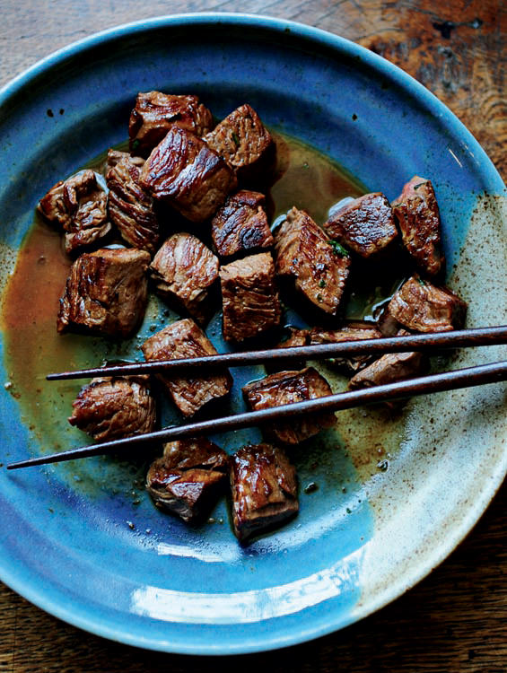 While Still In The Pan Cut The Fillet Into Cubes And Sear All Sides Add The Soy Sauce And Garlic Butter Quickly Stir Fry And Serve