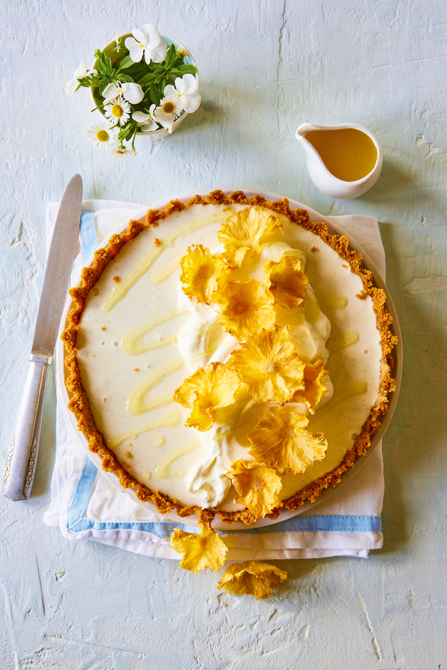 Coconut Panna Cotta Tart With Pineapple Cream