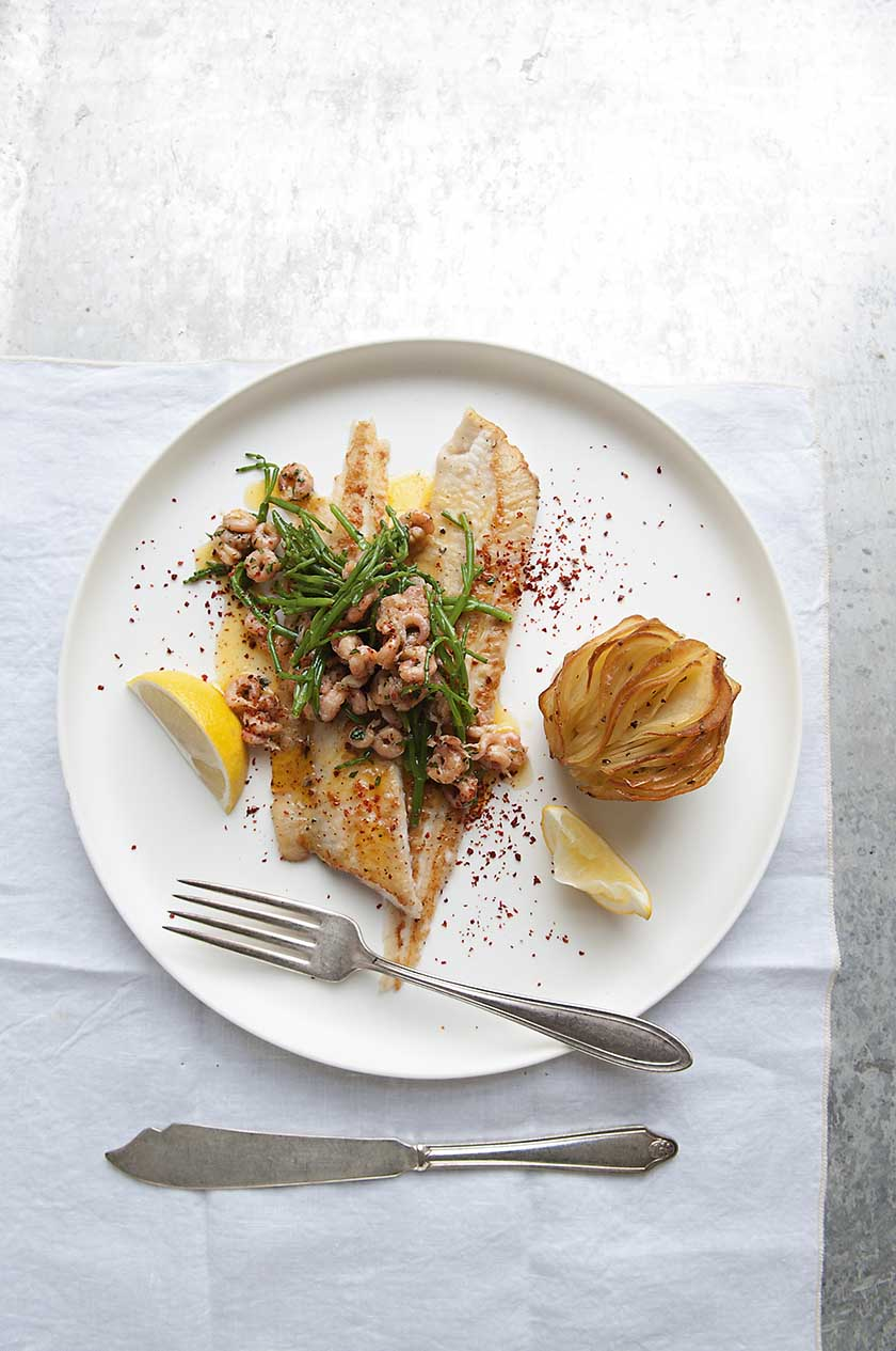 Dover sole with brown shrimp, samphire and roasted wafer potatoes