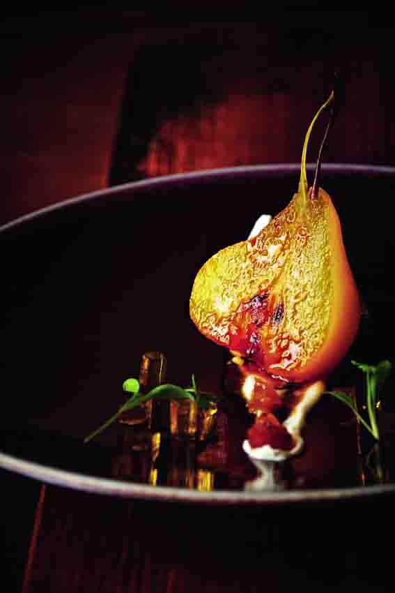 Saffron-poached pear