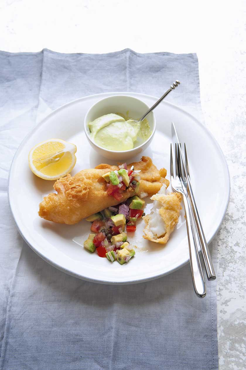 Pollock in prosecco batter with avocado mayonnaise food and travel pollock in prosecco batter with avocado mayonnaise and salsa batter forumfinder Choice Image