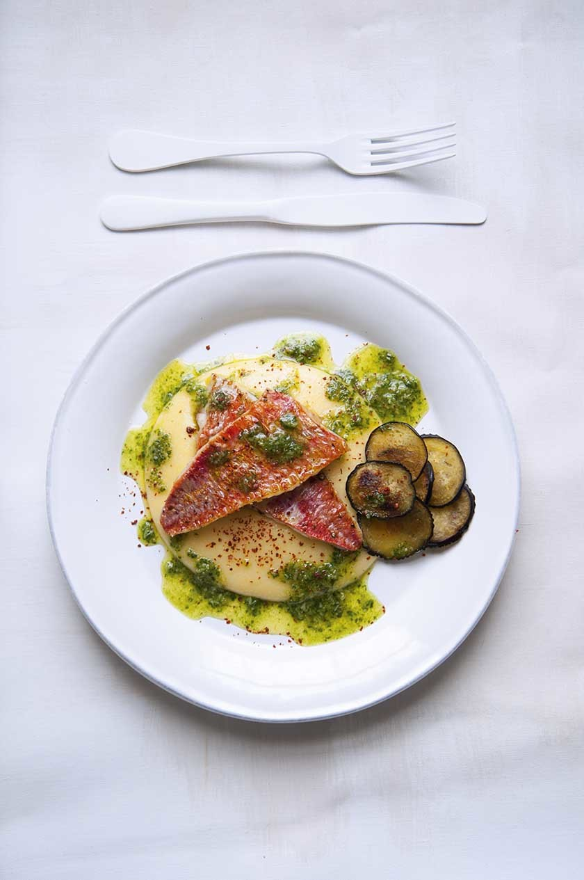 Red mullet, rocket and basil pesto, with crispy aubergine and soft polenta