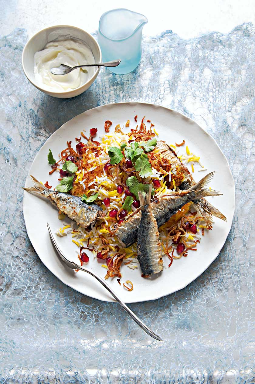 Spice-rubbed Sardines with Persian rice, pomegranate and crispy shallots
