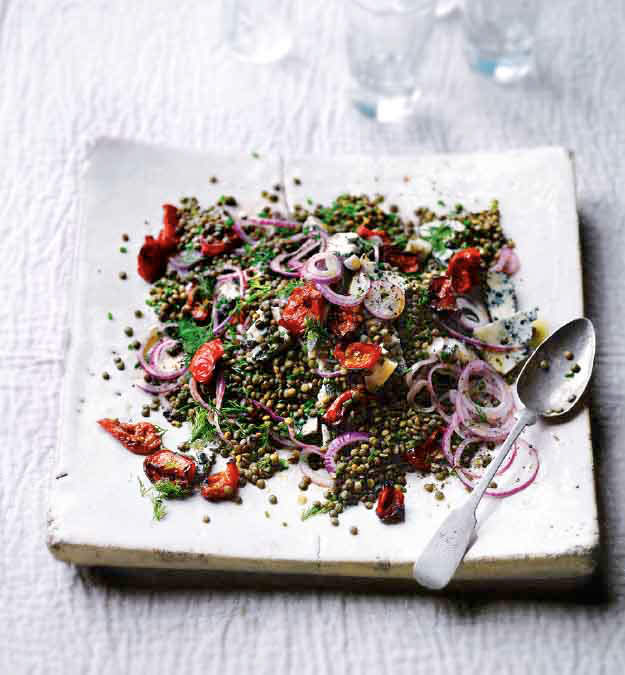 Yotam Ottolenghi's castelluccio lentils with tomatoes and gorgonzola