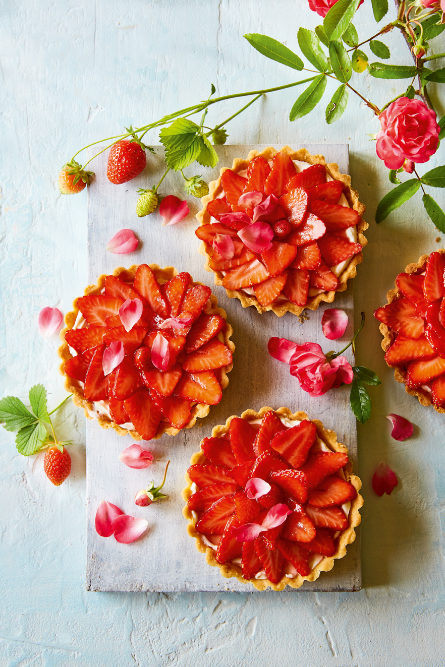 Strawberry Shortbread And Rosepetal Tartlets
