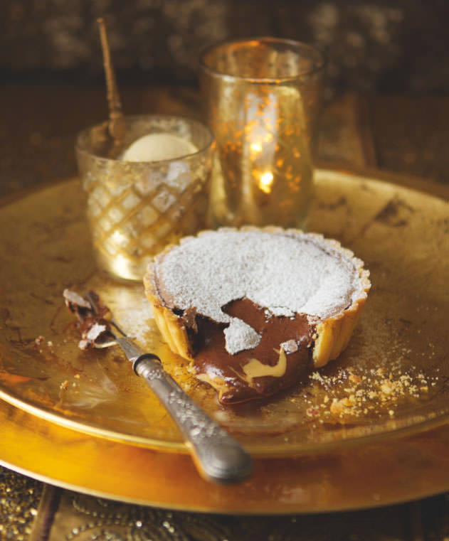 Molten chocolate and salted peanut butter mousse tarts with peanut ice ...
