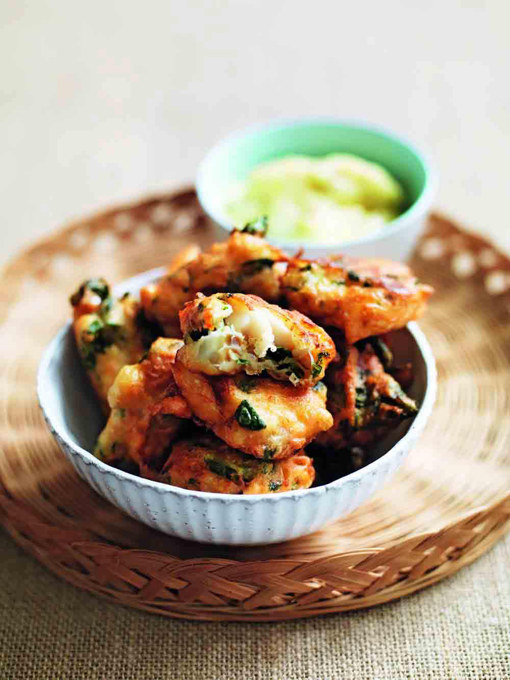 Salt cod fritters with spinach