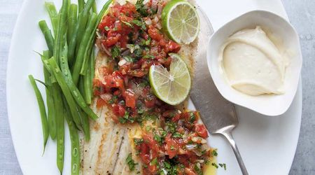 Pan-fried Dover sole with cooked salsa Mexicana and lime mayonnaise