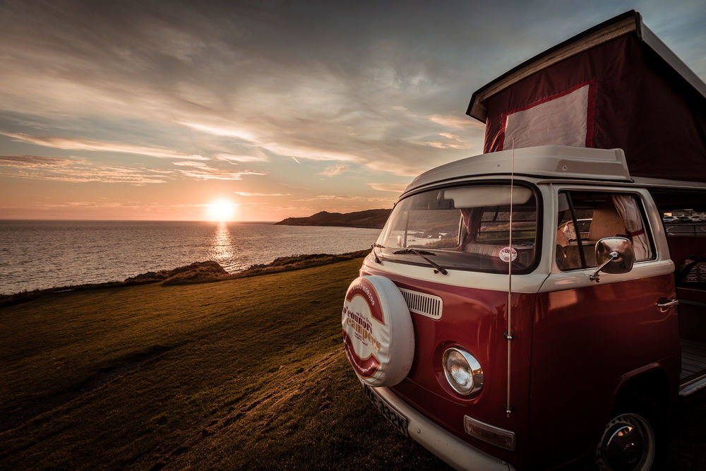Campervan on Cornwall beach